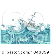 Clipart Of A Sketched Ship On Giant Ocean Waves Royalty Free Vector Illustration