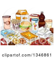 Clipart Of Sketched Junk Foods On A Table Royalty Free Vector Illustration