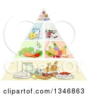 Clipart Of A Sketched Food Pyramid Royalty Free Vector Illustration by BNP Design Studio