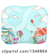 Clipart Of Sketched Carnival Vendor Stands With Balloons Against Blue Sky Royalty Free Vector Illustration