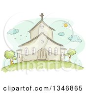 Clipart Of A Sketched Church Building Facade On A Sunny Day Royalty Free Vector Illustration