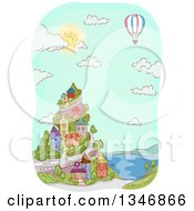 Clipart Of A Sketched Hot Air Balloon Over A Coastal Village Royalty Free Vector Illustration by BNP Design Studio