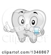 Clipart Of A Cartoon Tooth Mascot Gargling Mouthwash And Giving A Thumb Up Royalty Free Vector Illustration