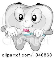 Cartoon Tooth Mascot Putting Paste On A Toothbrush