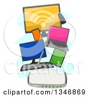 Clipart Of Computers A Tv Tablet And Smart Phone Connected To A Wifi Router Royalty Free Vector Illustration