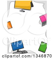 Clipart Of A Border Of Computers Laptops Smart Phones And Tablets Royalty Free Vector Illustration