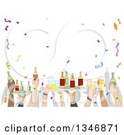Clipart Of Party Hands Holding Up Trays And Cups Of Alcohol Royalty Free Vector Illustration