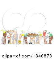 Clipart Of Hands Holding Up Cocktails And Snacks At A Party With Text Space Royalty Free Vector Illustration