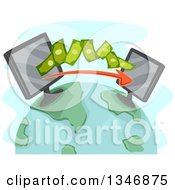 Clipart Of Computers Transfering Money On A Globe Royalty Free Vector Illustration