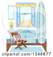 Clipart Of A Chair Table And Surfboard Inside A Cabin By The Window Royalty Free Vector Illustration