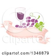Glass Of Wine And Purple Grapes Over A Blank Ribbon Banner
