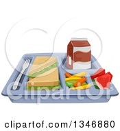 Cafeteria Lunch Tray With A Sandwich Veggies Watermelon And Milk