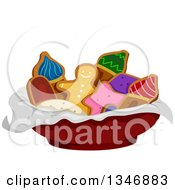Clipart Of A Bowl Of Gingerbread Cookies Royalty Free Vector Illustration