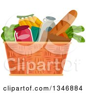 Clipart Of A Basket Full Of Groceries Royalty Free Vector Illustration