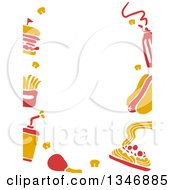 Clipart Of A Border Of Yellow And Red Fast Food Icons Royalty Free Vector Illustration by BNP Design Studio