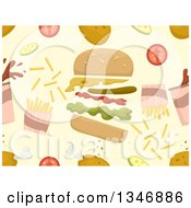 Clipart Of A Seamless Background Pattern Of Fried Chicken A Burger Fries And Other Items Royalty Free Vector Illustration
