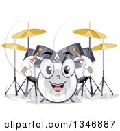Clipart Of A Cartoon Drum Set Mascot Holding Up Sticks Royalty Free Vector Illustration