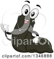 Clipart Of A Cartoon Leech Mascot Wearing A Stethoscope Royalty Free Vector Illustration by BNP Design Studio