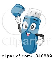 Clipart Of A Cartoon USB Memory Stick Lifting Its Hat Royalty Free Vector Illustration by BNP Design Studio