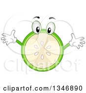 Clipart Of A Cartoon Lime Character With Open Arms Royalty Free Vector Illustration by BNP Design Studio