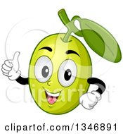 Clipart Of A Cartoon Green Olive Mascot Giving A Thumb Up Royalty Free Vector Illustration
