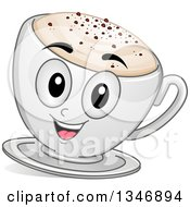 Clipart Of A Cartoon Cappuccino Coffee Character Royalty Free Vector Illustration