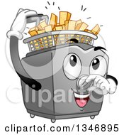 Clipart Of A Cartoon Deep Fryer Mascot Inserting Potatoes To Make Fries Royalty Free Vector Illustration