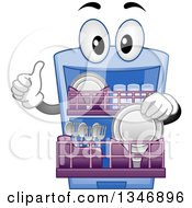 Clipart Of A Cartoon Dishwasher Mascot Inserting Objects And Giving A Thumb Up Royalty Free Vector Illustration