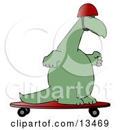 Green Dino Skateboarding And Wearing A Helmet