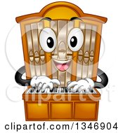 Clipart Of A Cartoon Pipe Organ Mascot Playing Royalty Free Vector Illustration by BNP Design Studio