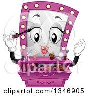 Cartoon Pink Vanity Mirror Mascot Putting On Makeup