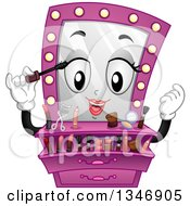 Clipart Of A Cartoon Pink Vanity Mirror Mascot Putting On Makeup Royalty Free Vector Illustration by BNP Design Studio