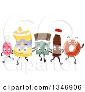 Clipart Of A Group Of Junk Food Characters Walking And Embracing Royalty Free Vector Illustration