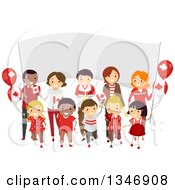 Clipart Of A Group Of Happy Children And Adults Holding Flags In Front Of A Banner On Canada Day Royalty Free Vector Illustration by BNP Design Studio