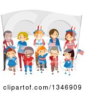 Clipart Of A Group Of Happy Children And Adults Holding American Flags In Front Of A Banner On The Fourth Of July Royalty Free Vector Illustration