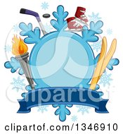 Clipart Of A Snowflake Label With A Torch Skis Ice Skates And Hockey Stick With A Banner Royalty Free Vector Illustration
