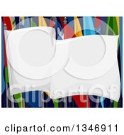 Clipart Of A Blank White Flag Over Colorful Parade Flags Royalty Free Vector Illustration
