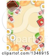 Clipart Of A Border Of Sushi Foods Around Text Space Royalty Free Vector Illustration by BNP Design Studio