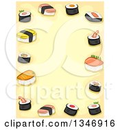 Clipart Of A Border Of Sushi Over Yellow Text Space Royalty Free Vector Illustration by BNP Design Studio