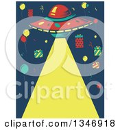 Clipart Of A Birthday Party Ufo Shining A Light Down With Balloons And Gifts Royalty Free Vector Illustration by BNP Design Studio