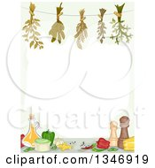 Clipart Of A Border Of Hanging Herbs Over Condiments And Vegetables Royalty Free Vector Illustration by BNP Design Studio