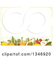 Clipart Of A Border Of Assorted Fruits And Pastel Yellow Royalty Free Vector Illustration