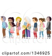 Clipart Of A Group Of People Waiting In Line Royalty Free Vector Illustration
