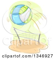 Clipart Of A Beach Volleyball Flying Over A Net Royalty Free Vector Illustration