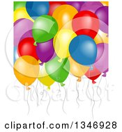 Clipart Of A Background Of Floating Colorful Party Balloons Royalty Free Vector Illustration