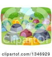 Clipart Of A Crowded Campground With Tents Royalty Free Vector Illustration by BNP Design Studio