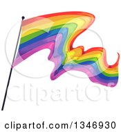 Clipart Of A Waving Rainbow Flag Royalty Free Vector Illustration