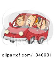 Cartoon Group Of Caucasian People Car Pooling