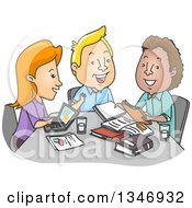 Cartoon Group Of College Students Studying At A Table