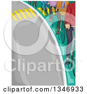Clipart Of A Line Of Cyclists On A Bike Lane Along A Road Royalty Free Vector Illustration